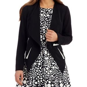 Kensie Draped Front Contrast Zipper Blazer
